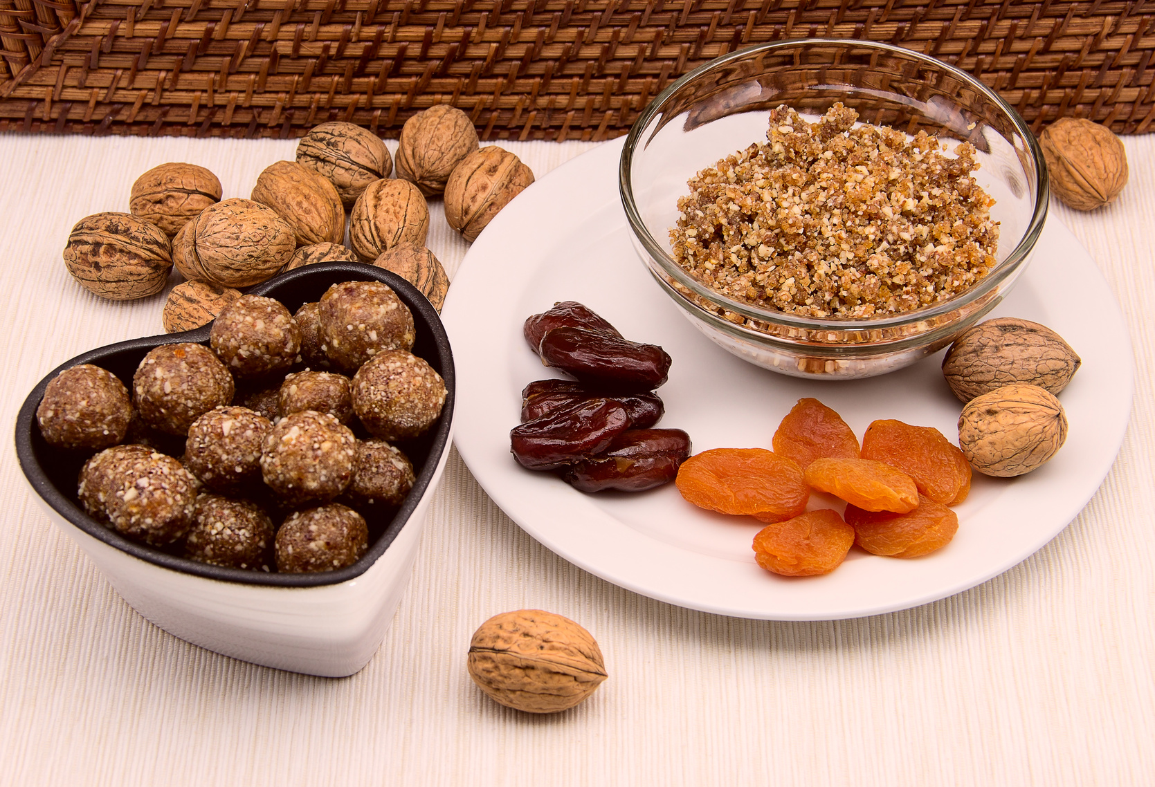 Walnuts, dates, apricots
