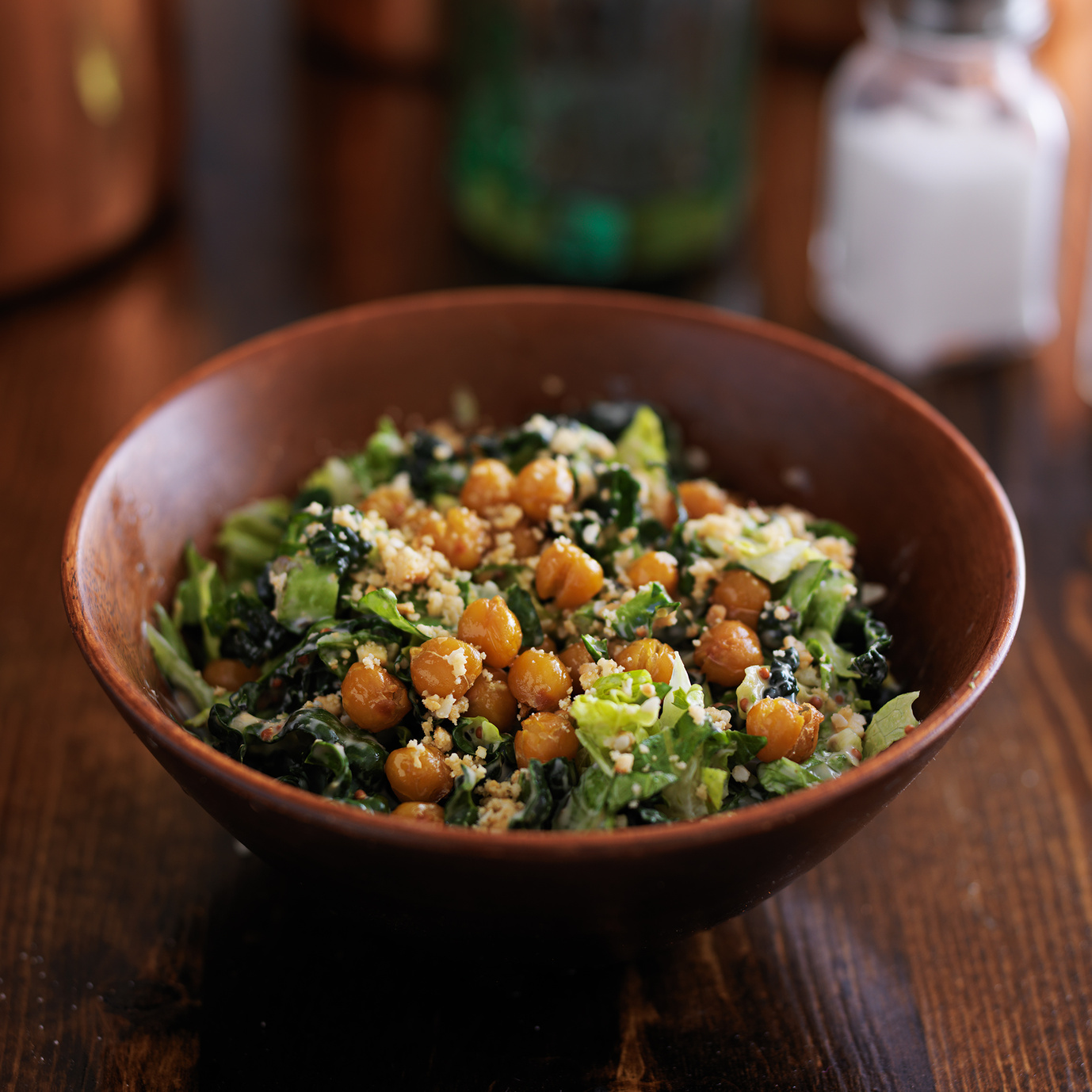 Vegan Caesar Salad With Maple Garlic Roasted Chickpeas