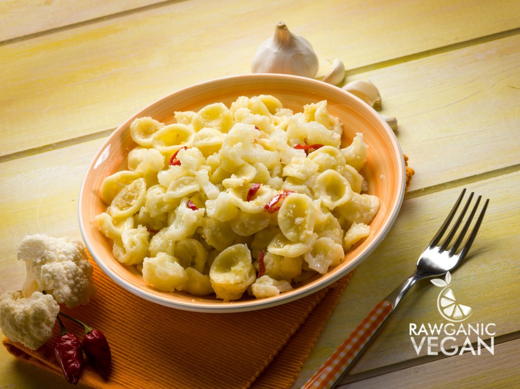 Cauliflower Nutritional Yeast Sauce Over Pasta