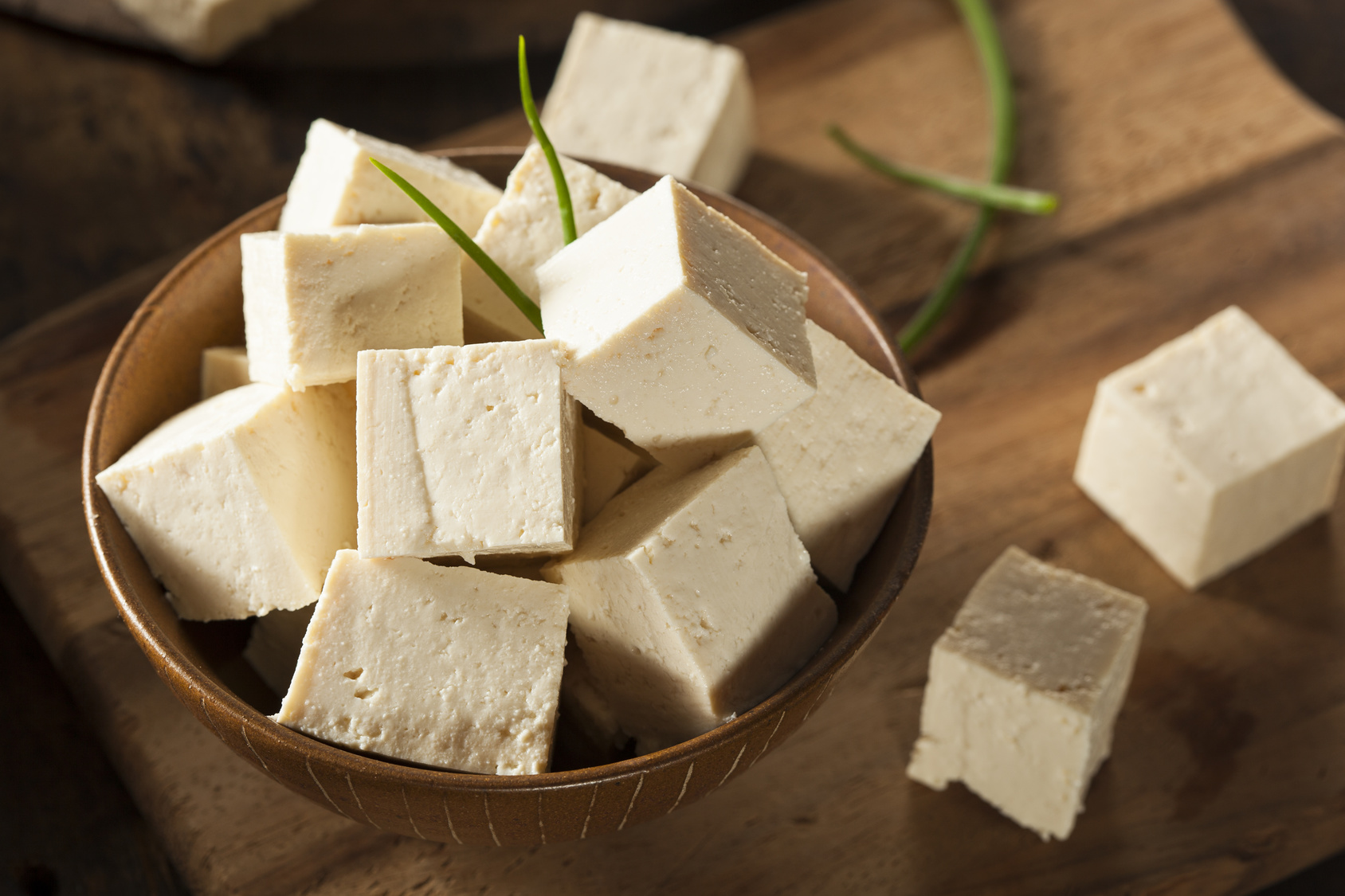 Organic Raw Soy Tofu on a Background