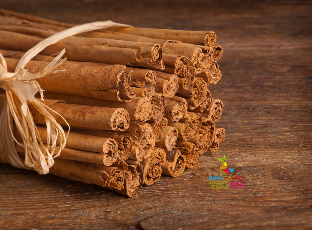 Bunch of Ceylon cinnamon on wooden table